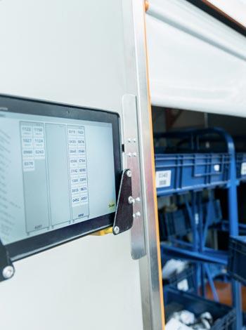 Screen beim Abladen des RFID Routenzuges bei EVG